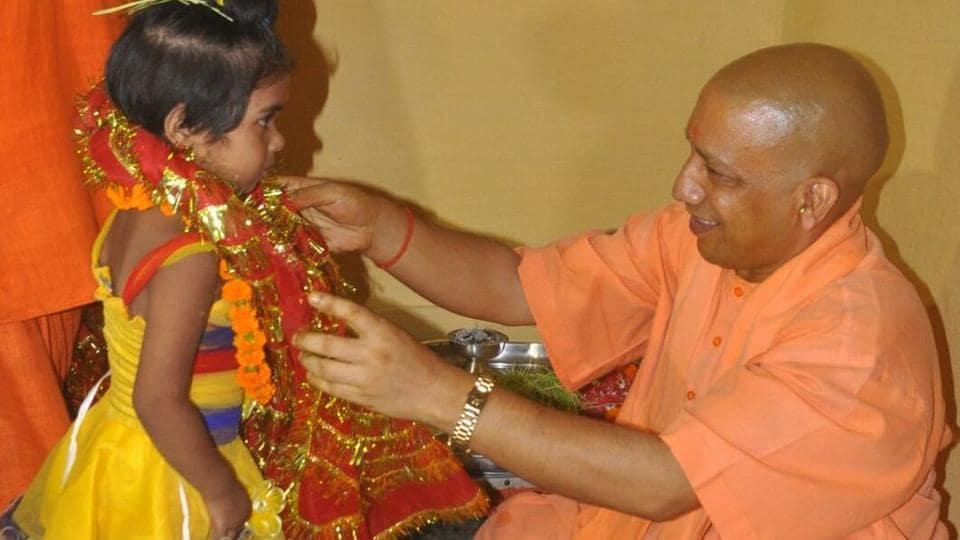 Uttar Pradesh Chief Minister Yogi Adityanath performing kanya pujan at the Gorakhnath temple on Friday.