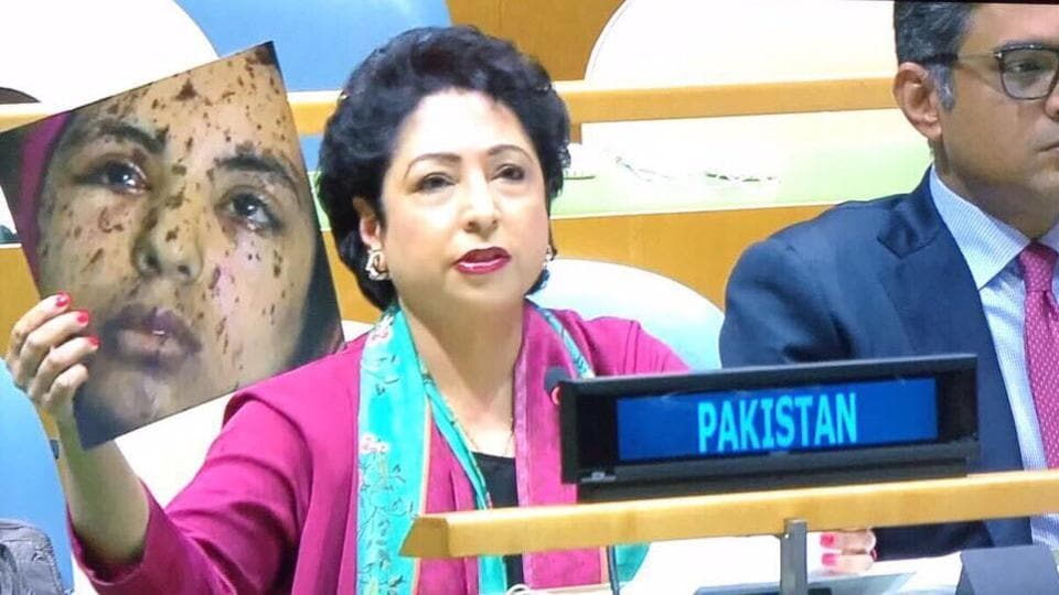 Pakistan's Permanent Representative to the UN Maleeha Lodhi held up a picture while responding to Indian external affairs minister Sushma Swaraj's attack on Pakistan at the United Nations General Assembly.