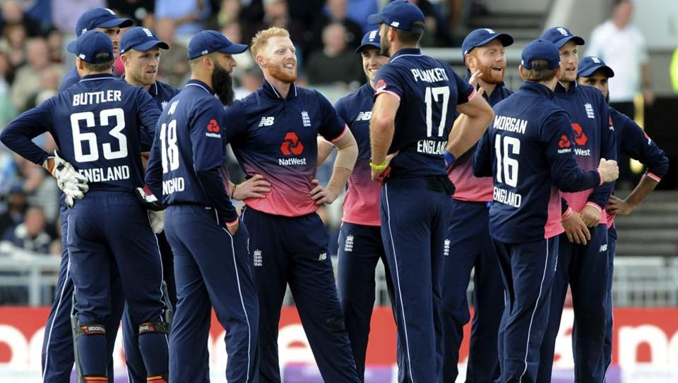 England's Ben Stokes, centre, reacts after a successful review for Marlon Samuels' wicket during the first One Day International match vs West Indies at Old Trafford in Manchester on September 19, 2017.