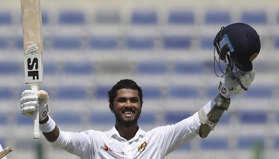 Dinesh Chandimal celebrates his century on Day 2 of the first Test cricket match between Pakistan and Sri Lanka at Sheikh Zayed Stadium in Abu Dhabi. Catch full cricket score and live cricket updates of Day 2 here