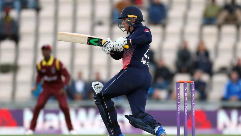 England cricket team's Jason Roy in action during the 5th ODI vs West Indies cricket team. See full cricket score and highlights of England vs West Indies 5th ODI here.
