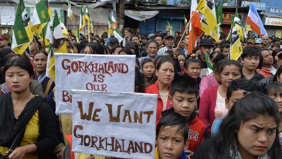Supporters of the Gorkha Janmukti Morcha (GJM) taking part in a protest amid a strike called by the GJM in Darjeeling. The indefinite strike and shutdown came to an end on September 27 after 104 days.