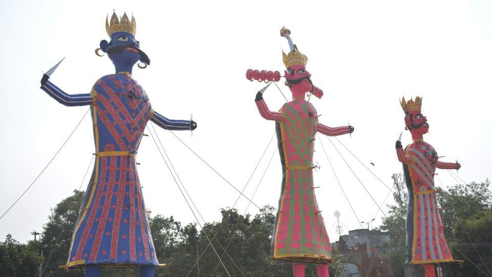 This time, there will also be more use of artificial lighting to brighten the outlook and attire of the three effigies that are being erected across Ramlila grounds in the city.