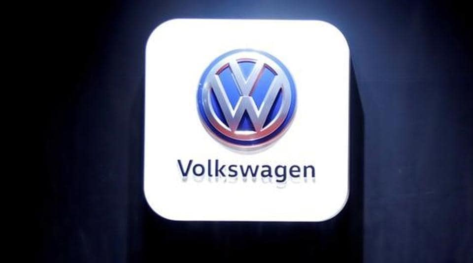 The Volkswagen logo at the Shanghai Auto Show, in Shanghai, China April 20, 2017.