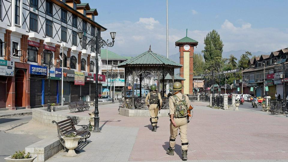 Security personnel patrol at Lal chowk in Srinagar on September 25, 2017.