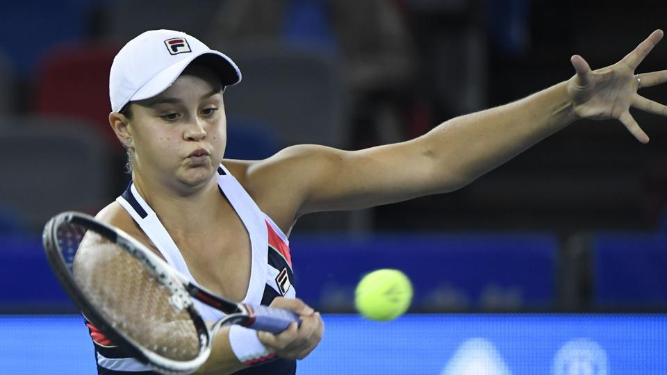 Ashleigh Barty of Australia returns to Jelena Ostapenko of Latvia during their women's singles semifinal match at the WTA Wuhan Open tennis tournament on Friday.