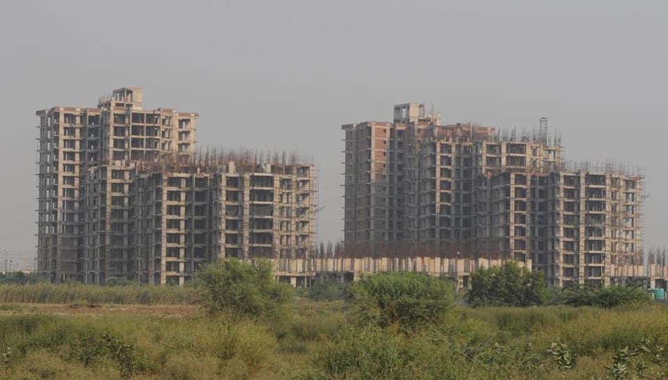 Unitech buildings, in Noida, India.