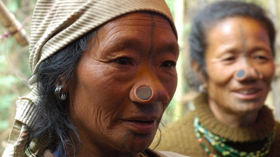 The Apatani tribe is native to the Ziro valley. They keep to themselves and are rarely seen photographed. The tribe is distinct for the nose plugs  and facial tattoos worn by its female members. (Doniv79 / Wikimedia Commons)
