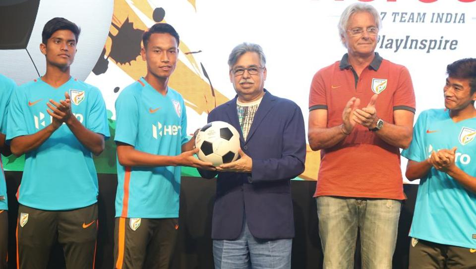 Indian footballers with Pawan Munjal, CMD, Hero MotoCorp Ltd. , during a promotional event ahead of the FIFA U-17 World Cup.