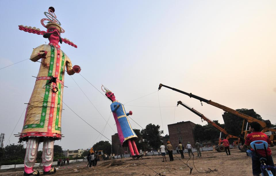 The effigies of Ravana and Meghnad being installed at Sector 46 inChandigarh.