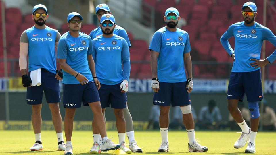 The Indian cricket team attend a training session at the Vidarbha Cricket Association Stadium in Nagpur on Saturday.