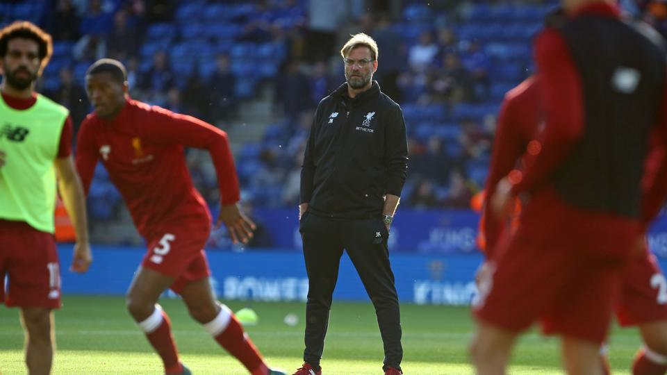 Liverpool manager Jurgen Klopp watches his players warm up ahead of the English Premier League football match between Leicester City and Liverpool at King Power Stadium in Leicester.  Liverpool will take on Newcastle United on Sunday, October 1.