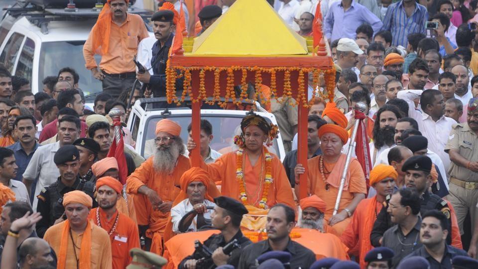Chief minister of Uttar Pradesh Yogi Adityanath leads the procession of Dussehra from Gorakhnath temple in Gorakhpur on Saturday.