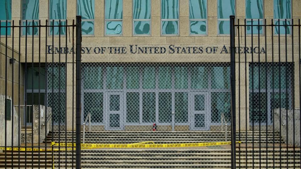 A view of the US Embassy in Havana, Cuba on September 29.