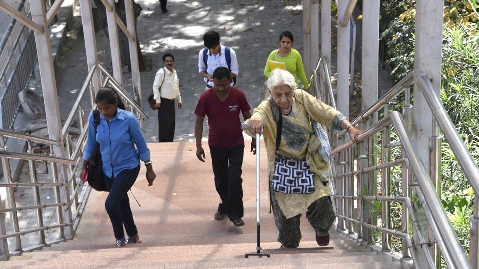 Foot overbridge at Jungpura in New Delhi.