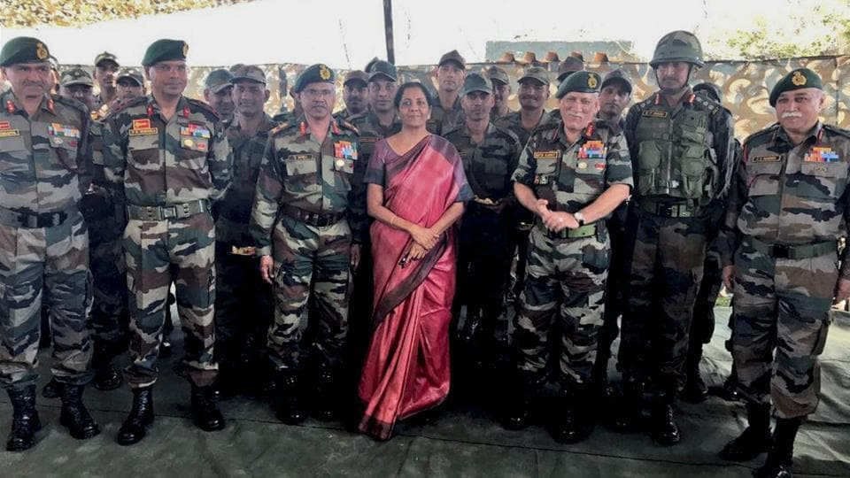 Defence minister Nirmala Sitharaman and Chief of the Army Staff General Bipin Rawat with the troops at one of the forward area posts in Jammu and Kashmir on Friday.