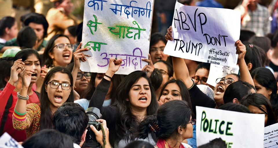A protest against the RSS-backed ABVP in the Delhi University campus on February 28 following clashes at Ramjas College. In the union election that followed, the left-wing AISA made violence on the campus a campaign issue to galvanise students against ABVP.