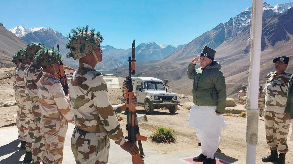 Union home minister, Rajnath Singh takes salute during his visit to ITBP Border Out Post (BoP) in Rimkhim Uttarakhand on Saturday.