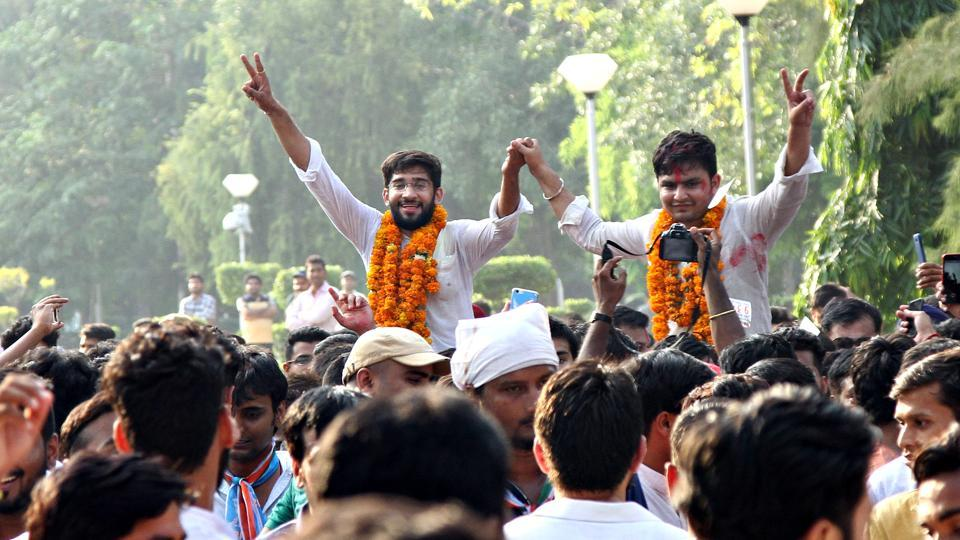 Delhi University Students' Union (DUSU) Vice President Kunal Sehrawat and President Rocky Tuseed after winning the elections recently.