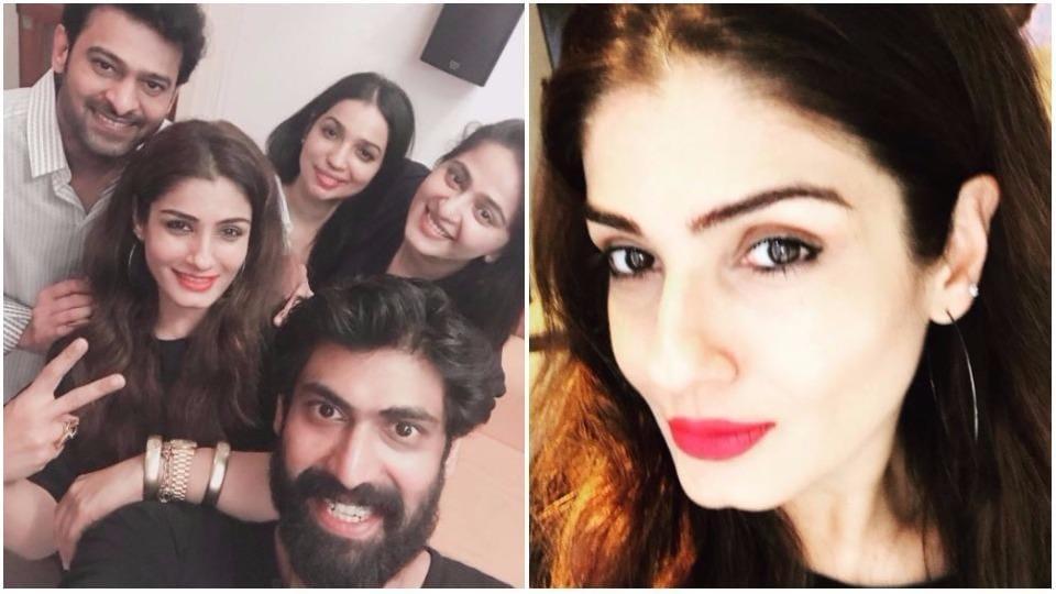 Raveena Tandon met Baahubali actors Rana Daggubati, Prabhas and Anushka Shetty in Hyderabad.  The credit for selfie goes to Rana.