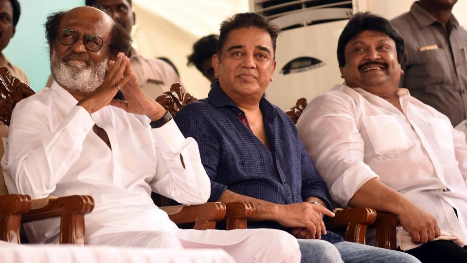 Tamil actors Rajnikanth and Kamal Haasan at the inaugural of the Shivaji Ganeshan memorial in Chennai on Sunday.