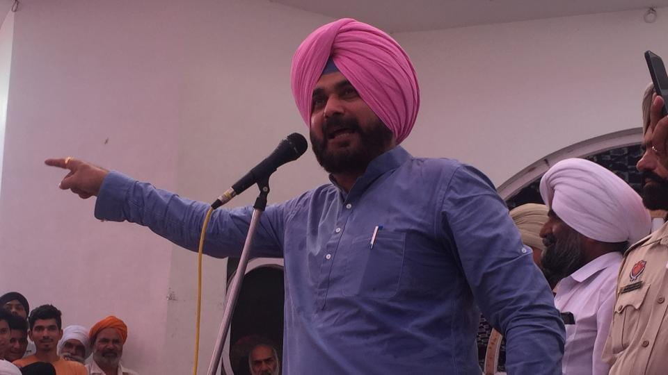 Punjab local bodies minister Navjot Singh Sidhu addressing a public gathering in Dera Baba Nanak on Sunday.