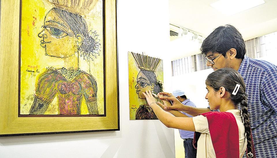 A feel of art for a visually impaired student at Punjab Kala Bhawan, Chandigarh.