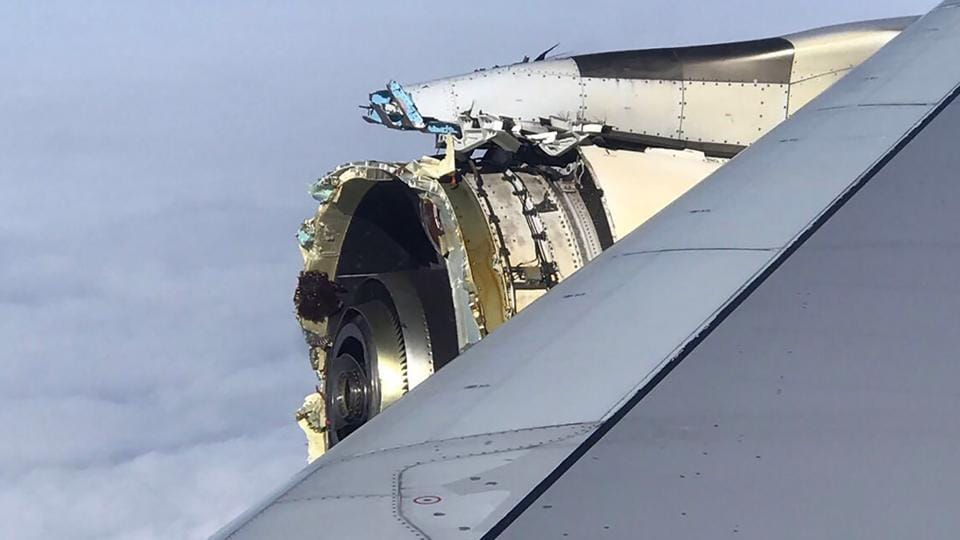 This photo taken on September 30 shows the damaged engine of an Air France A380 superjumbo while onboard before it made an emergency landing in Canada.
