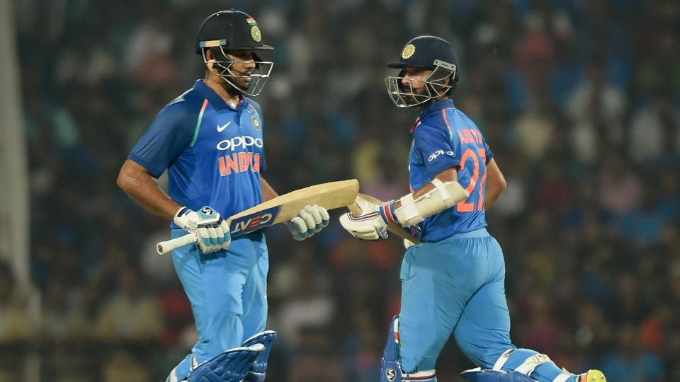 India openers Rohit Sharma and Ajinkya Rahane (R) put up a 124-run stand for the first wicket against Australiaduring the fifth ODI at the Vidarbha Cricket Association Stadium in Nagpur on Sunday.