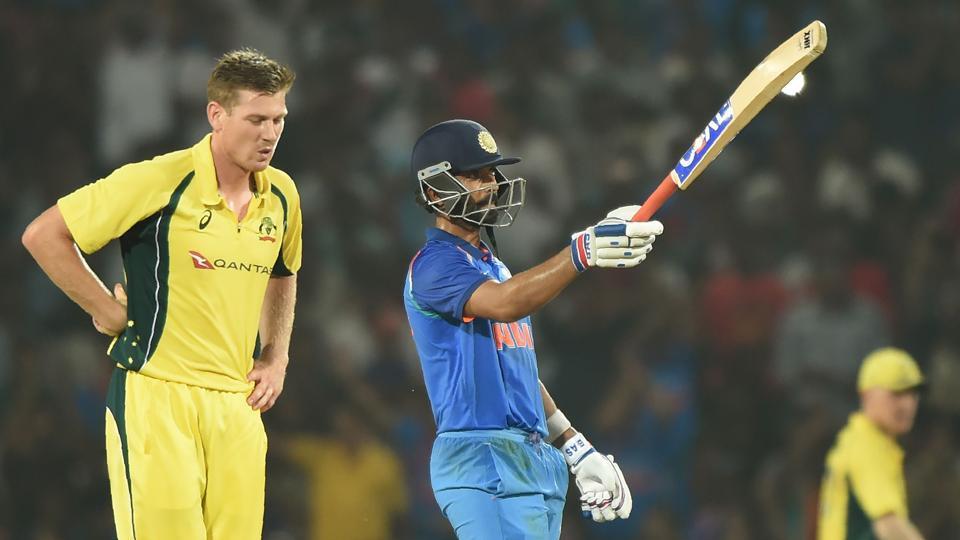 Indian cricketer Ajinkya Rahane celebrates after scoring a half-century during the fifth ODI against Australia at the Vidarbha Cricket Association Stadium in Nagpur on Sunday.