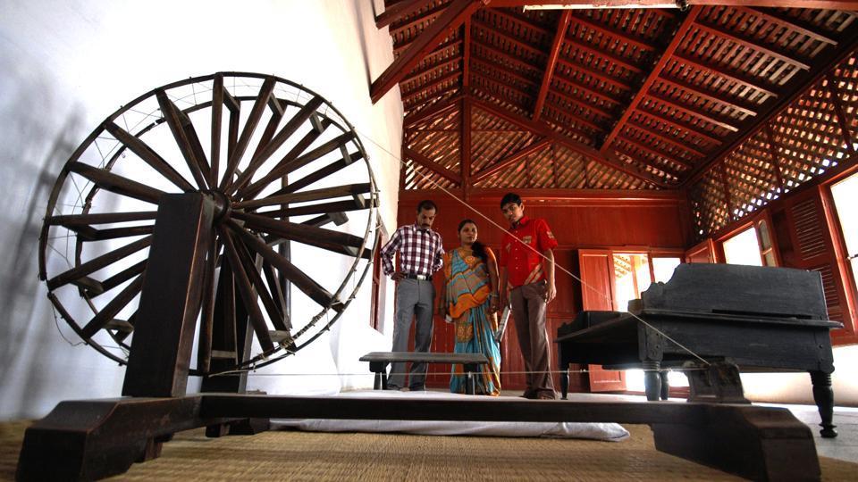 Mahatma  Gandhi's spinning wheel at the Gandhi Ashram in Ahmadabad, India. .