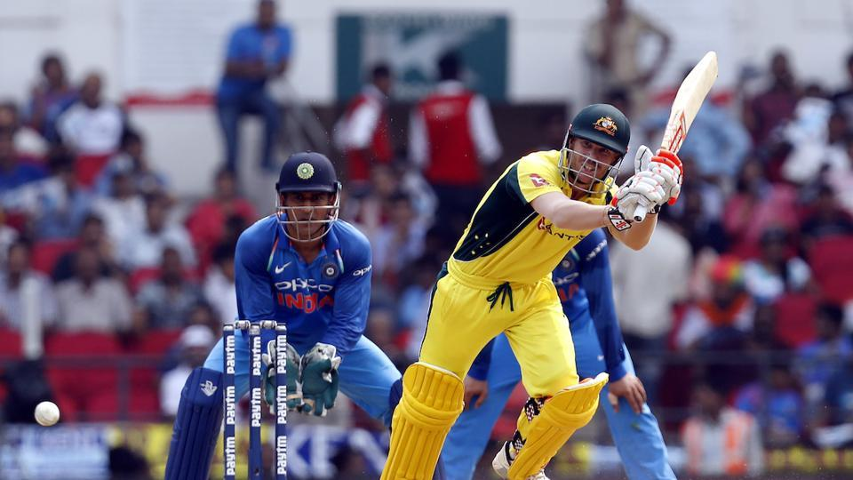 David Warner, who scored a century in the Bangalore ODI, hit 53 off 62 balls with five boundaries.  (BCCI )