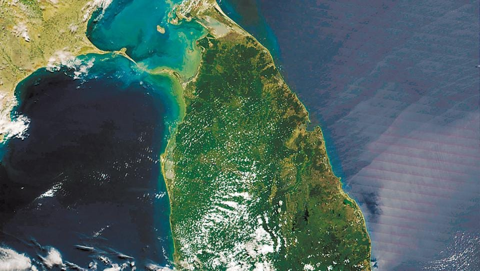 A satellite image of where the Ram Setu is believed to be located – in the shallow straits between India and Sri Lanka where the Sethusamudram shipping canal project is being proposed.