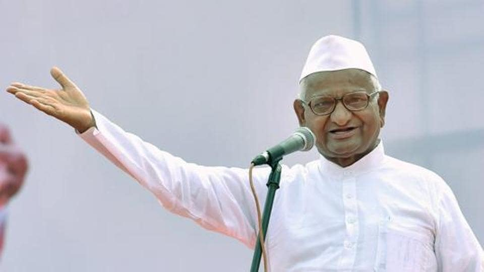 Social activist Anna Hazare speaks on the occasion of the 3rd International Yoga Day at Kanteerava Stadium in Bengaluru on June 21.