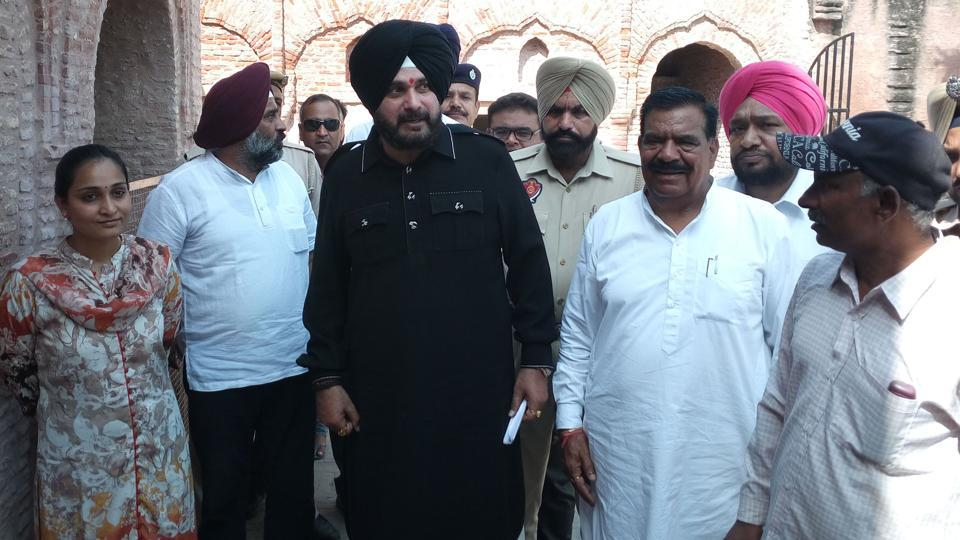 Tourism and cultural affairs minister Navjot Singh Sidhu during a visit to Khatkar Kalan village to pay tribute to Bhagat Singh on Monday.