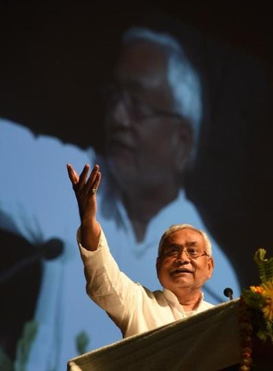 Bihar chief minister Nitish Kumar at a state government function in Patna on Monday.