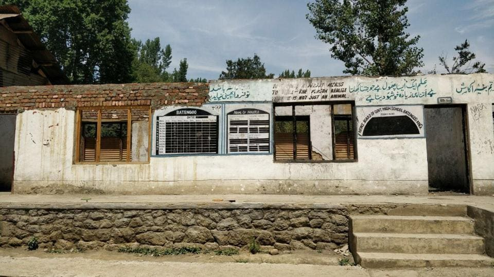 At least 37 schools were set afire by unidentified people in October 2016 when the Kashmir was rocked by months-long protests after security forces gunned down militant commander Burhan Wani on July 8. At least 100 people, most of them civilians, were killed as a result. Many children were blinded, some in both eyes, by pellets fired by security forces. The arson that accompanied the protests destroyed schools and other government buildings in Kashmir.  (Neelam Pandey / HTPhoto)