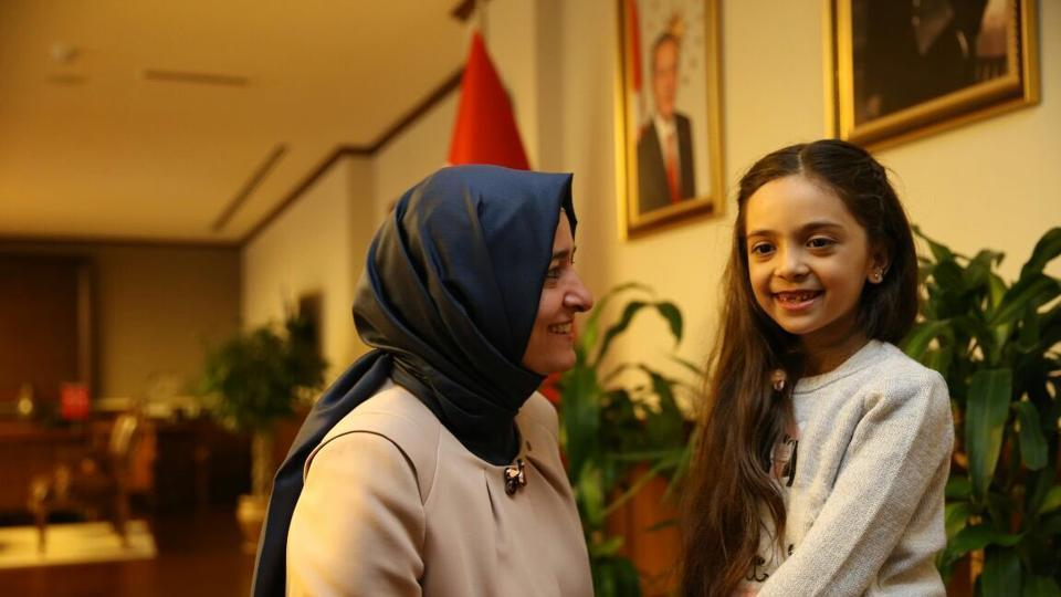 Bana Alabed (R), the young Syrian girl who drew global attention with her tweets from war-torn Aleppo, now lives in Turkey.