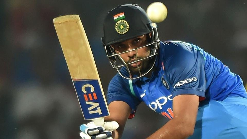 Rohit Sharma en route to his century during the fifth India vs Australia ODI at Nagpur's Vidarbha Cricket Association Stadium on October 1, 2017.  Rohit Sharma is currently the fifth best ODI batsman in the world