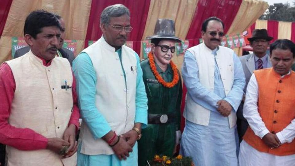 CM Trivendra Singh Rawat at a programme organised on the death anniversary of Veer Chandra Singh Garhwali in Pauri district on Sunday.