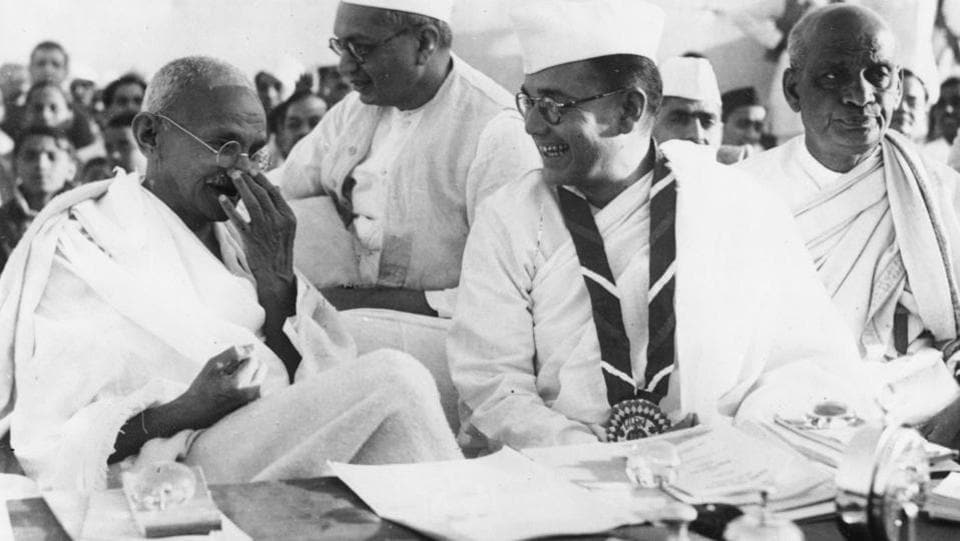 Mahatma Gandhi with Subhash Chandra Bose and Sardar Vallabhbhai Patel during the 51st Indian National Congress. (Photo by Keystone / Getty Images)