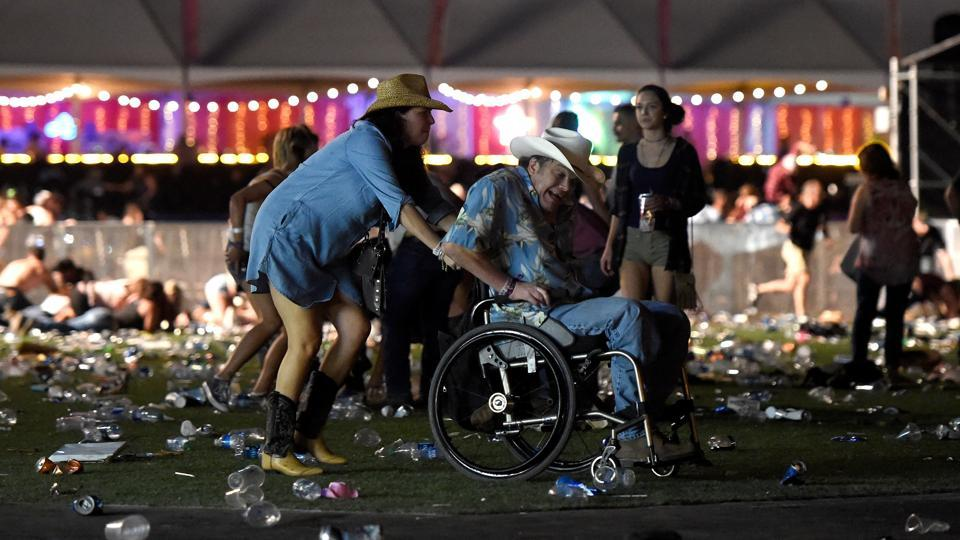 Las Vegas's casinos, nightclubs and shopping draw some 3.5 million visitors from around the world each year and the area was packed with visitors when the shooting broke out shortly after 10 pm. (David Becker / AFP)