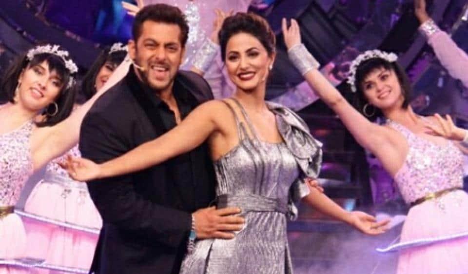 Salman Khan and Hina Khan during the Bigg Boss 11 premiere.