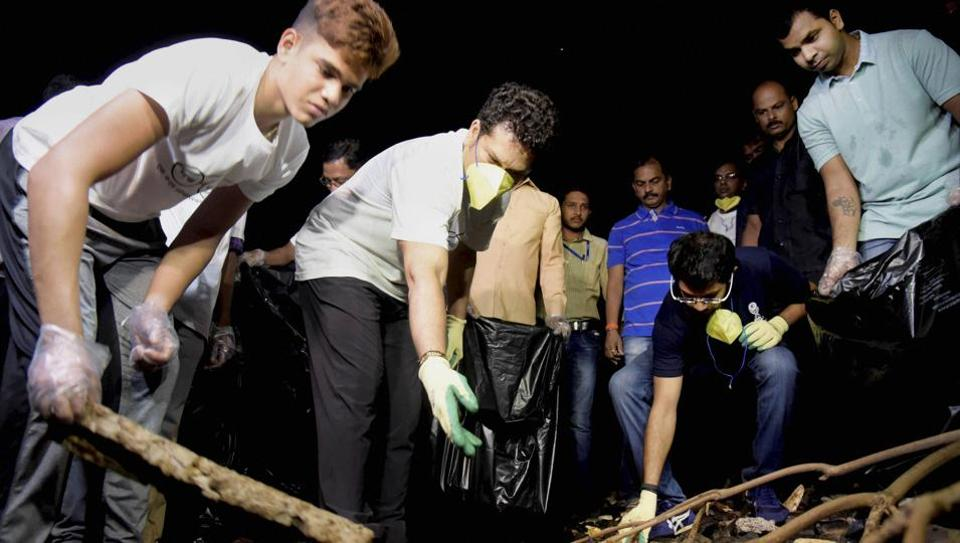 Sachin Tendulkar and his son Arjun Tendulkar participating in a cleanliness drive in Bandra, Mumbai last week. On the occasion of Gandhi Jayanti, the cricket icon has asked countrymen to sweep away dirt and live for a clean India.