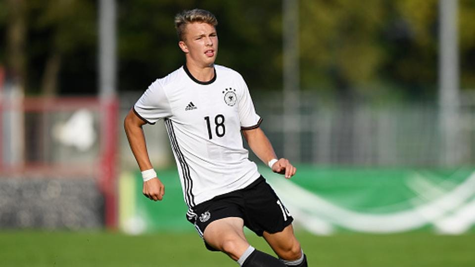 Jann-Fiete Arp trained with his Germany teammates after arriving in India on Monday.