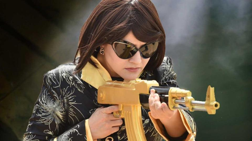 Honeypreet Insan, in a still from MSG The Warrior Lion Heart, where she acted along side Gurmeet Ram Rahim Singh.