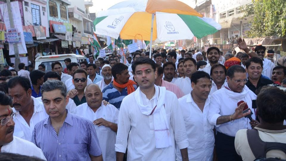 Rajasthan Congress chief Sachin Pilot leads a farmers' rally in a rally in Jhalawar on Tuesday.