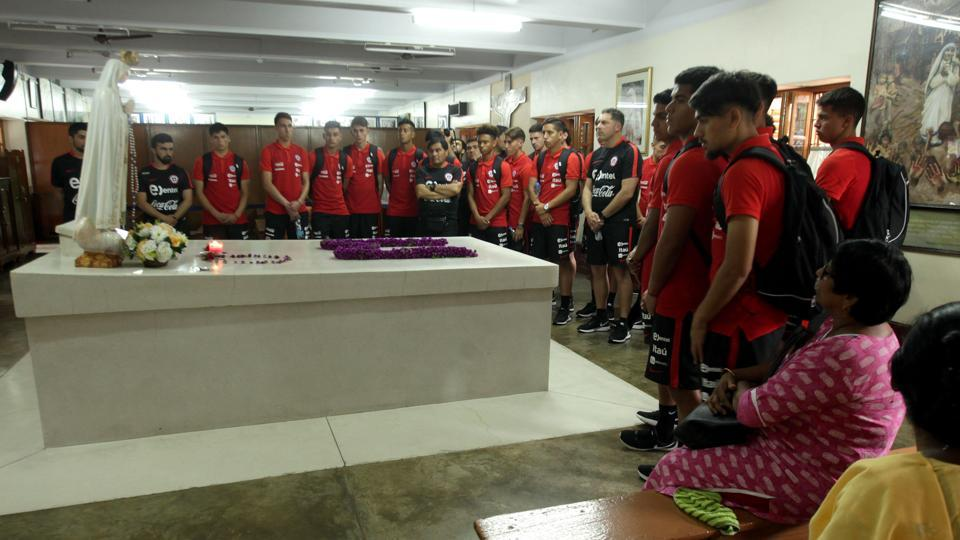 Chile's football team visited Mother House in Kolkata as they gear up for the FIFAU-17 World Cup.