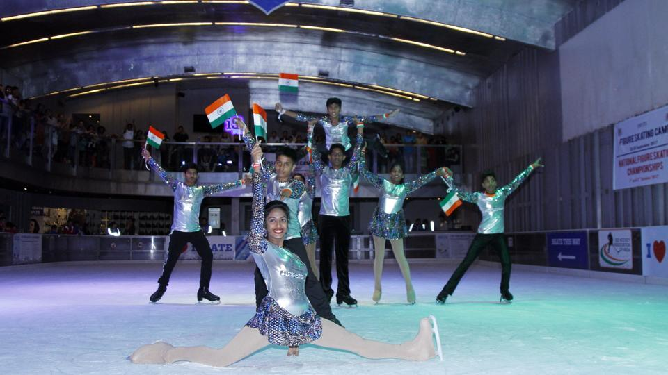 Senior team from Telangana performed a synchronised act as part of the 14th National Ice Skating Championship.