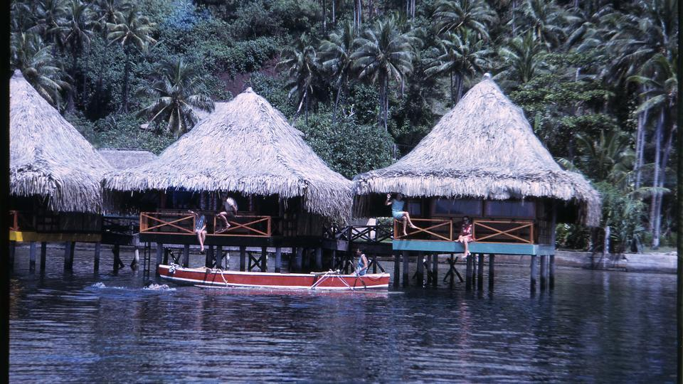 The first overwater bungalows in Raiatea in the late 1960s.